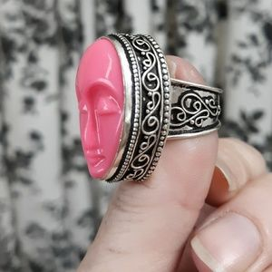 Handmade Jewelry - New Pink Carved Face Silver Ring. Size 7